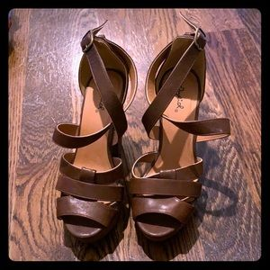 Brown Strappy Chunky Heels